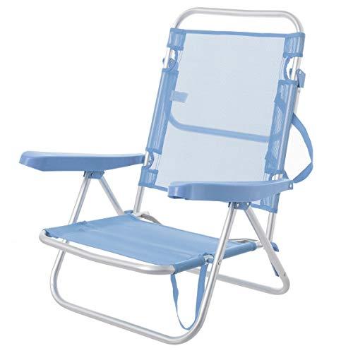 Lola Home Juinsa Chaise en Aluminium pour Plage Multiposition 80 x 61 x 47 cm Bleu