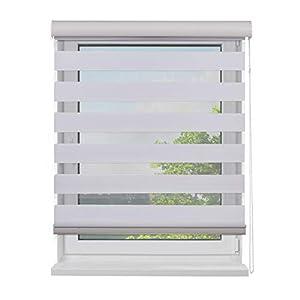 Fensterdecor Doppel-Rollo mit Aluminium-Kassette, Rollo für Fenster mit seitlichem Kettenzug, Seitenzug-Rollo mit Blende…