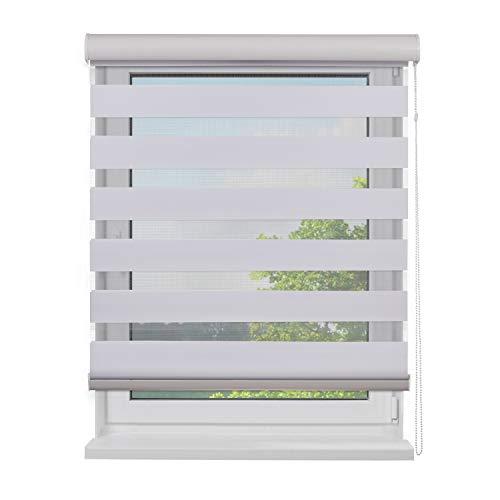 Fensterdecor Duo-Rollo Doppelrollo mit Aluminiumkassette / Weiß 120 x 230 (BxH)