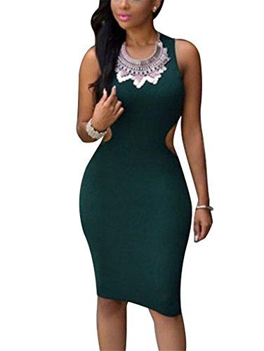 Cfanny Femmes Dos Découpe Robe Moulante Vêtement De Soirée Vert