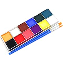 Face Body Paint 12 Flash Colors Professional Faces Oil Based Painting Palette Set for Boys Girls Adults Halloween Holiday Daily Art Makeup