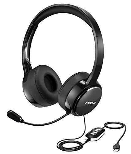 Mpow Auriculares USB PC de Teléfono Cerrados con Micrófono, Auriculares con Cbale y Reducción de Ruido, 2,4 Metros, 2 Enchufes de 3,5mm y USB, Compatible con XBOX, VoIP, Skype, Moviles Ipad y PC
