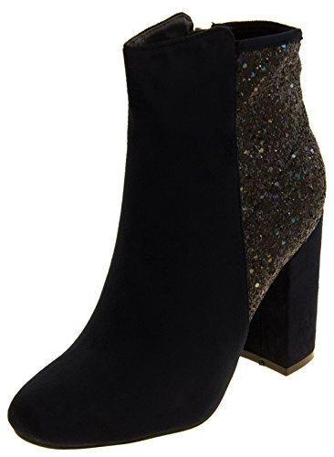 Donna stivali Divina pelle scamosciata del Faux glitter caviglia Blu marino