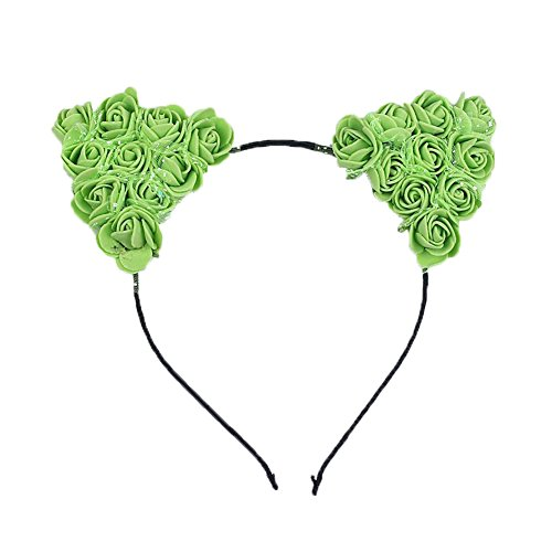 Dosige Haarreif Schwarz Schaum Katzenohren Ohren Kostüm Haar Stirnband für Party und Tägliche Tragen 0.5cm Breit Grün