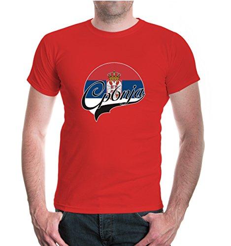buXsbaum® T-Shirt Serbien-Logo Red-z-direct