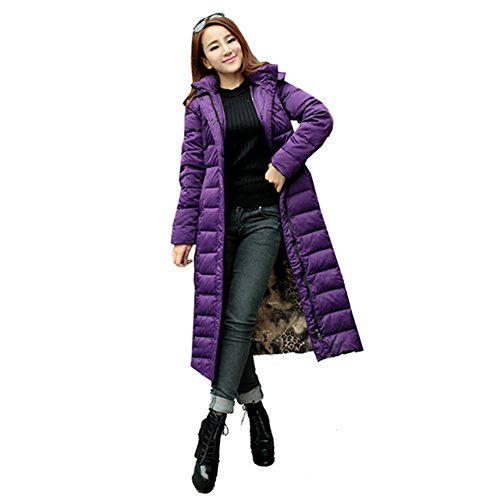 XIAOLV88 Women's Slim Full Length Long Hooded Warm Down Coat Jackect Parka Purple