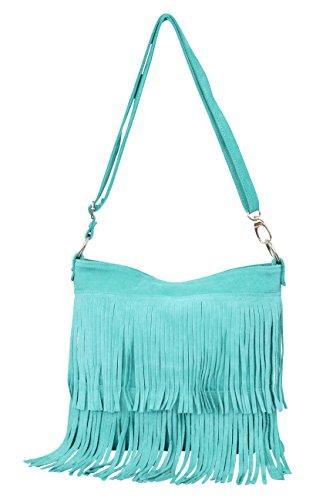 AMBRA Moda Damen Handtasche Ledertasche Umhängetasche Fransentasche Schultertasche Damentasche Wildleder 32 cm x 29 cm x 2 cm WL809 Türkis