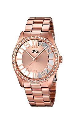 Lotus-Reloj de cuarzo para mujer con oro rosa esfera analógica y acero inoxidable bañado en oro rosa pulsera 18128/1