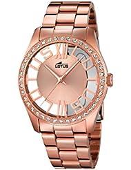Lotus–Reloj de cuarzo para mujer con oro rosa esfera analógica y acero inoxidable bañado en oro rosa pulsera 18128/1