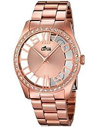 Lotus – Reloj de cuarzo para mujer con oro rosa esfera analógica y acero inoxidable bañado en oro rosa pulsera 18128/1