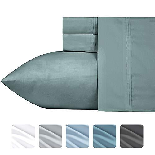 Luxuriös seidig weich 700Fadenzahl-Bettlaken-Set, patentierte Baumwolle Rich Satin Technologie, knitterfrei (Pure weiß-Full), Baumwolle, Modern Sage, California King - Luxuriöse Set