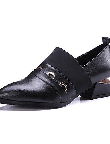 WSS 2016 Chaussures Femme-Extérieure / Bureau & Travail / Habillé / Décontracté-Noir / Argent-Gros Talon-Bout Pointu / Bout Carré / Bout Fermé / black-us8 / eu39 / uk6 / cn39