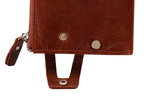 Everdoss weinleseart-Porta-monete per uomo in cuoio marrone frizione per borsa porta carte, per donna Marrone
