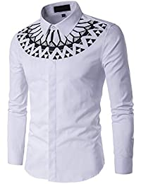 BUSIM Men's Long Sleeve Shirt Autumn Casual Fashion Slim Cotton Printed Solid Color Buttons Under Lapel T-Shirt...
