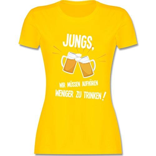 Shirtracer Statement Shirts - Jungs, Wir Müssen Aufhören Weniger zu Trinken - Damen T-Shirt Rundhals Gelb