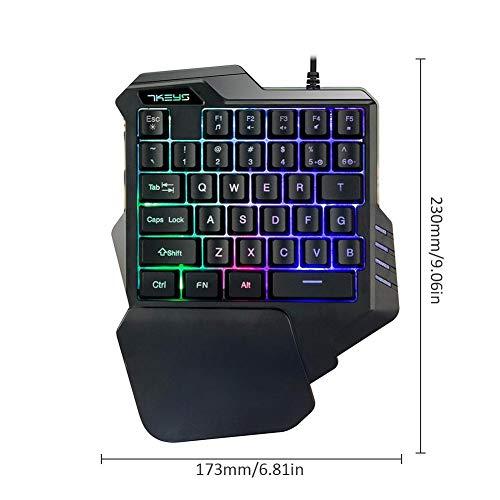 Pueri Clavier mécanique clavier de jeu à une main mini-clavier de jeu repose-mains à 35 touches Clavier de jeu RVB Contre-jour coloré 5