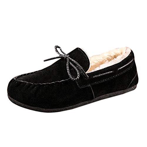 Uirend Hausschuhe Schuhe Herren - Low Top Winterschuhe Pelzfutter Leicht Warm Mokassins Faux Fell gefüttert Winter Leicht Komfort Mode