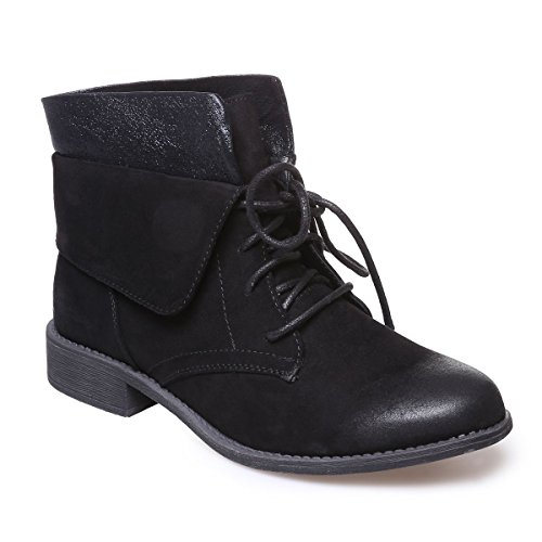 La Modeuse - Bottines style rangers aspect daim Noir