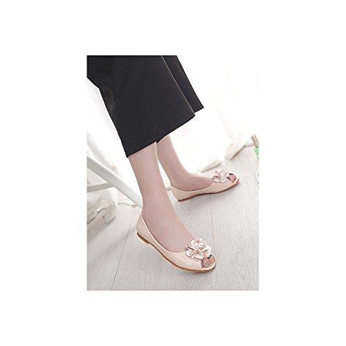Femme Ballerines Plate Tete de Poisson En PU Cuir Verni Mode Abricot A-1