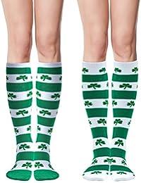 311e2b009f4 Elcoho St Patrick s Day Shamrocks Knee Socks Lucky Shamrock Knee Thigh Stockings  Striped for Saint Patrick