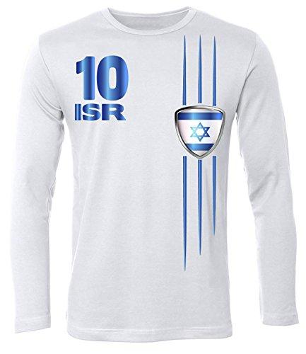 FOOTBALL WORLD CUP - EUROPEAN CHAMPIONSHIP - ISRAEL SHIRT Uomo manica Lunga Maglietta Taglia S to XXL vari colori White