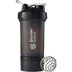 BlenderBottle ProStak - Botella de agua y mezcladora, color negro