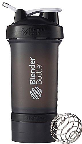 BlenderBottle Prostak Protein Shaker / Diät Shaker (650ml, skaliert bis 450ml, mit 2 Container 150ml & 100ml, 1 Pillenfach) Schwarz (Klare 2 Unzen-container)