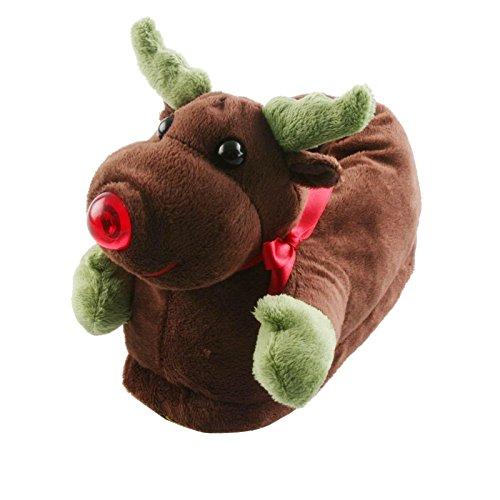 Tierhausschuhe Plüsch Hausschuhe Rentier Weihnachten Rudolf Kinder Pantoffel Schlappen Anti Rutsch Puschen, TH-RTCT Dunkelbraun