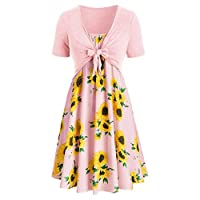 Remanlly Women's Dress Slash Neck Sleeveless Draped Sunflower Print Camisole Mini Dress