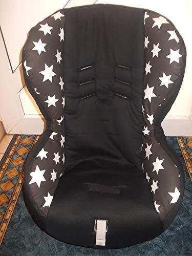 Römer King Quickfix mit 12cm Wangentiefe Bezug Ersatzbezug schwarz mit großen Sternen -