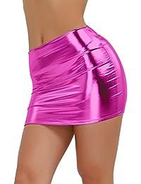 26dafe5cd5b4f IEFIEL Femme Mini-Jupe Moulante Cuir Mouillé Courte Taille Wetlook Unique Mini  Robe De Fête