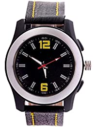 Black Dial Black Leather Strap Analog Wrist Watch For Men/Boys