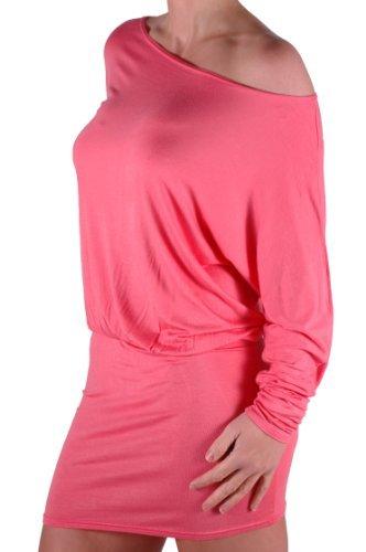 EyeCatch - Robe manches chauve souris tombant sur les epaules - Steffi - Femme Corail