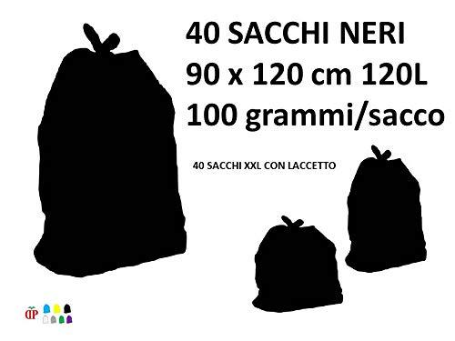 40 Sacchi PATTUME Neri AD ALTISSIMA Resistenza 90x120 cm 120L 100gr/sacco Sacchi con LEGACCIO Made in Italy per Raccolta DIFFERENZIATA IMMONDIZIA. 4KG Netti