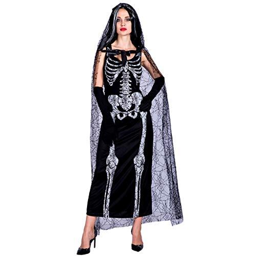 Damen Kostüm Erwachsene Lebende Tote Für - TINGSHOP Cosplay Kostüm, Ghost Bride Rock Set Mit Handschuhen Kostüm Für Erwachsene Für Den Tag Der Toten, Tag Der Toten, Halloween, Weihnachtskarneval Rollenspiel-Party Dekorative Requisiten