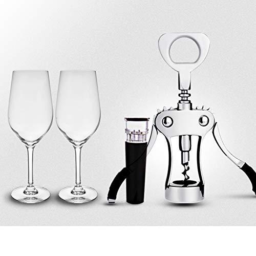QTQHOME Professionelle flaschenöffner Weinflaschenöffner,Multifunktion Integrierte Flasche Öffner Set Mit Zwei Glas Und Rot Wein stopfen Vintage Mit Bier Flaschenöffner-A 14x18cm(6x7inch)