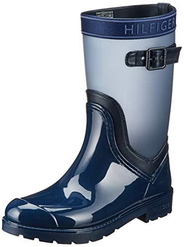 Tommy Hilfiger Translucent Detail Rain Boot, Botas Chelsea para Mujer, Azul Tommy Navy 406, 39 EU
