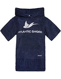 Atlantic Shore   Surfponcho (Unisex) ➤ Albornoz de algodón de primera calidad ➤ Kids / Niños ➤ Azul oscuro - SuperShort