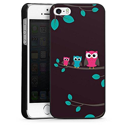 Apple iPhone 4 Housse Étui Silicone Coque Protection Hibous Mignon Forêt CasDur noir