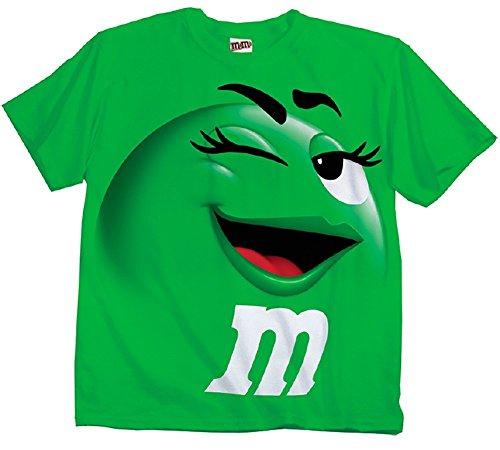 M&M Candy grün Silly Character Face Erwachsene T-Shirt (Small) (Tee Grün-erwachsenen T-shirt)