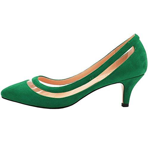 EKS Damen Lqoqop Grün Solide Farbe Spitz Schuhe Comfrotable Low Heels Dress Pumps 40 EU