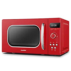 COMFEE' Retro Style 800w 20 Litre Microwave Oven with 8 Auto Menus, 5 Cooking Power Levels and Express Cook Button - Passionate Red - CM-M202RAF(RD)