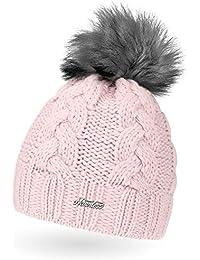 ae7fa505930a4e Neverless Damen Strick-Mütze gefüttert mit Fell-Bommel, Kunstfell, Winter- Mütze