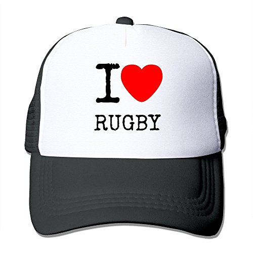 I Love Rugby Outdoor Mesh Sun Hats Adjustable Black (Mesh Fit Custom Rugby)