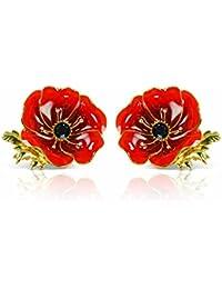 'In Flanders' Fields' Swarovski Crystal Poppy Earrings by The Bradford Exchange