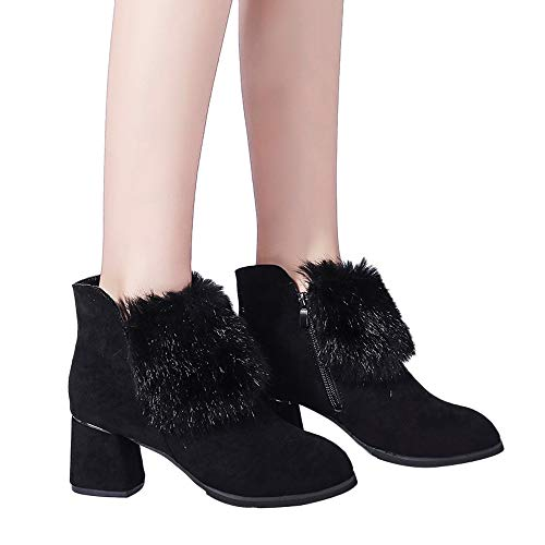 Stiefel Damen Boots Wildleder Reißverschluss Boot Behaarte Martin Stiefel Frauen Britische Stil Stiefeletten Suede High Heel Schuhe ABsoar