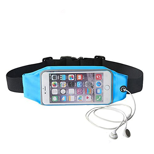 Advent Basics™ Adjustable waterproof Mobile Waist Pouch Bag Case Cover with Transparent Clear View Touch Screen with headphone jack slot Compatible With IPhone 7 | 6 | 6S | 5S | SE | 5C | 4S | 4 Samsung Galaxy S4 S5 Mini S6 Size 4.7 to 5.5 inch Phone (Sky Blue)  available at amazon for Rs.399