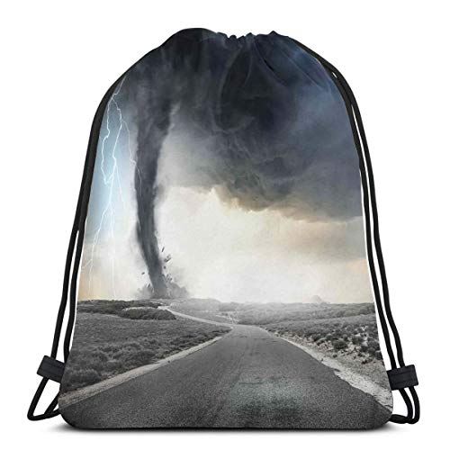Printed Drawstring Backpacks Bags,Black Tornado Funnel Gas and Lightning Rolling On The Road Fume Disaster Monochrome Print,Adjustable String Closure - 17in Rolling Tote