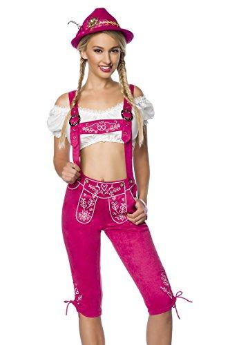 Damen Trachtenkniebundhose mit Hosenträgern und Stickereien Velourlsederoptik Bayrische Latzkniebundhose Lederoptik abnehmbare Träger Oktoberfest Pink