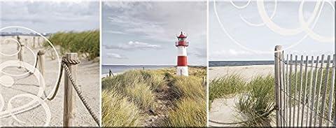 artissimo, Glasbild, 80x30cm, AG1961A, Holiday, Strand und Meer, Leuchtturm, Bild aus Glas, moderne Wanddekoration aus Glas, Wandbild Wohnzimmer